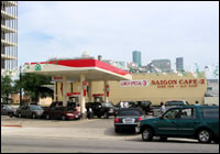 Motorists line up for gas in Houston before evacuating the city, Sept. 23, 2005.