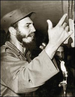 Fidel Castro speaks shortly after taking power in 1959.