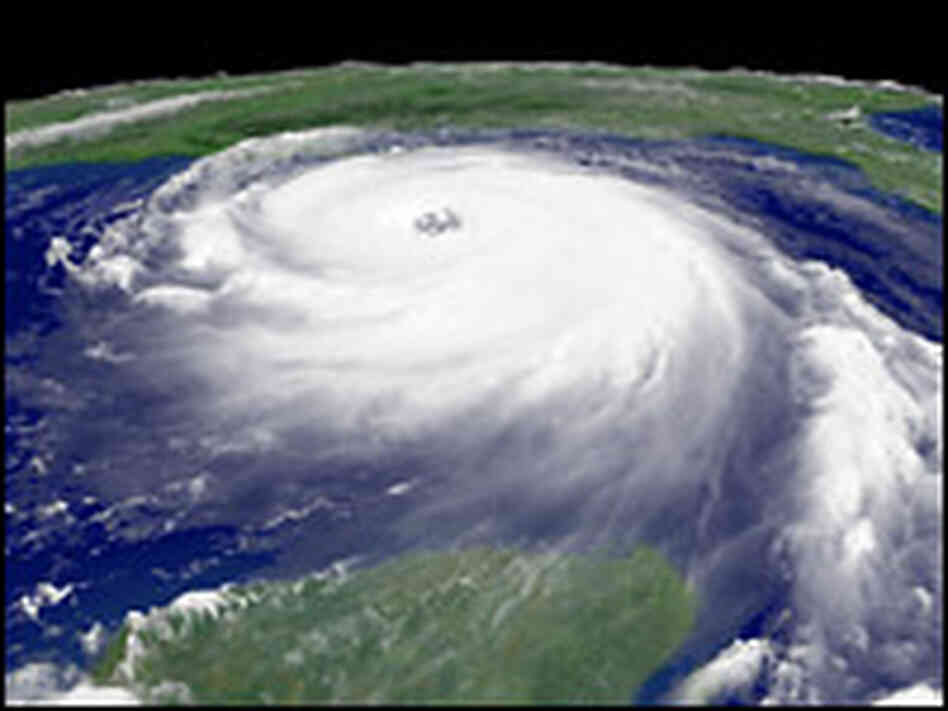 File photo shows Hurricane Katrina on Aug. 28, 2005, nearing the Gulf Coast.