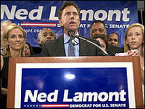 Ned Lamont celebrates with supporters including wife Annie and daughter Lindsay, 15.