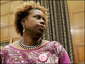Rep. Cynthia McKinney (D-GA) at a House Armed Services Committee meeting on Capitol Hill in July.