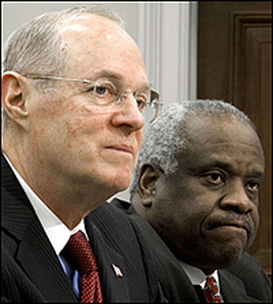 Supreme Court Justices Anthony Kennedy and Clarence Thomas -- shown here in April at a House Appropriations Subcommittee hearing on the high court's 2007 budget -- will join their colleagues in taking up desegregation issues Monday.