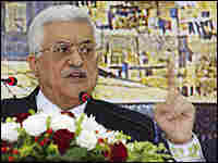 Palestinian President Mahmoud Abbas speaks on television from Ramallah.