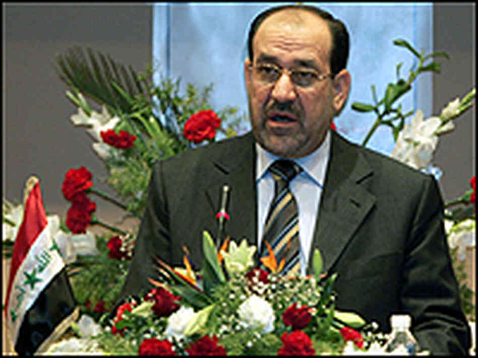 Iraqi Prime Minister Nouri al-Maliki speaks at the Iraqi national reconciliation conference.