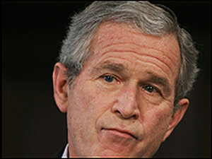 President Bush listens to a question from a reporter at Wednesday's news conference.