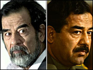 Saddam Hussein on trial and in power