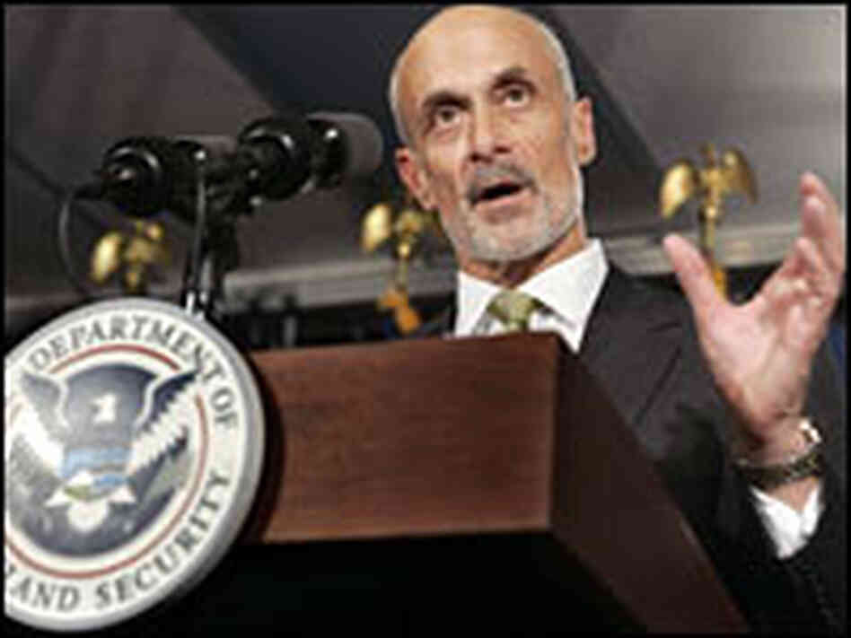 Homeland Security Secretary Michael Chertoff speaks at a news conference.