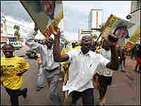 Members of President Museveni's National Resistance (NRM) Party's Youth Brigade in Kampala.