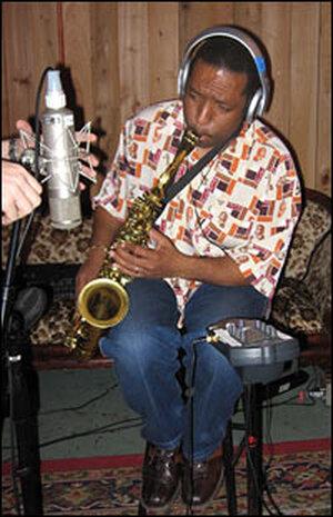 Saxophonist Donald Harrison in the studio.