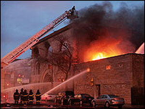 Fire crews battle a blaze at Chicago's historic Pilgrim Baptist Church.
