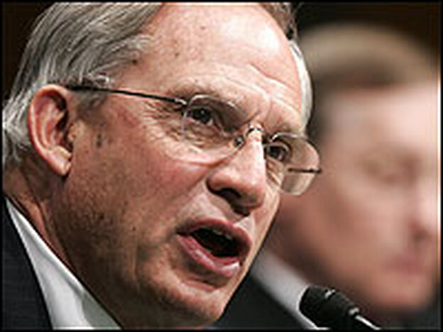 CIA Director Porter Goss speaks at a hearing before the Senate Armed Services Committee in March 2005.