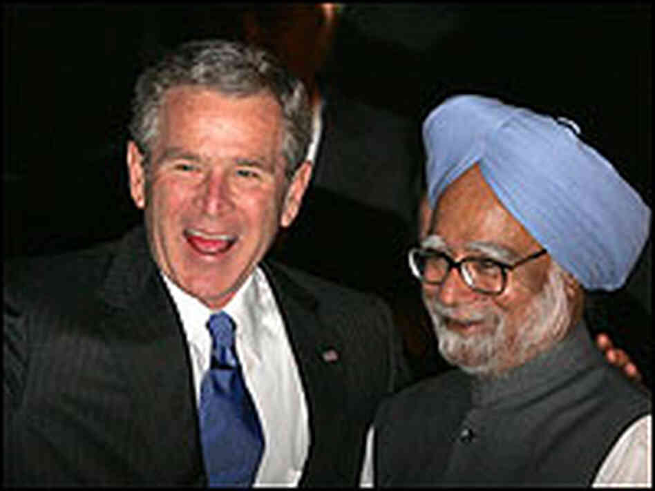 President Bush meets Indian Prime Minister Manmohan Singh in New Delhi.