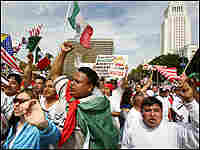 Demonstrators yell slogans supporting a massive march through the streets of downtown Los Angeles.