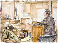 A courtroom rendering of Zacarias Moussaoui and other court figures.