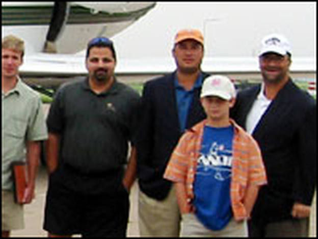 Various Capitol Hill figures pose in front of the private jet they took for a 2002 golf outing at the world-famous St. Andrews course in Scotland. Total tab: $100,000. Disgraced lobbyist Jack Abramoff financed the outing.