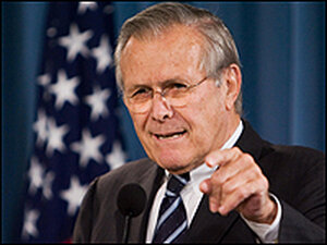 Donald Rumsfeld at an Oct. 26 news conference.