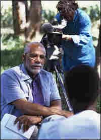 Ed Bradley interviews an HIV patient in Zimbabwe, April 28, 2000.