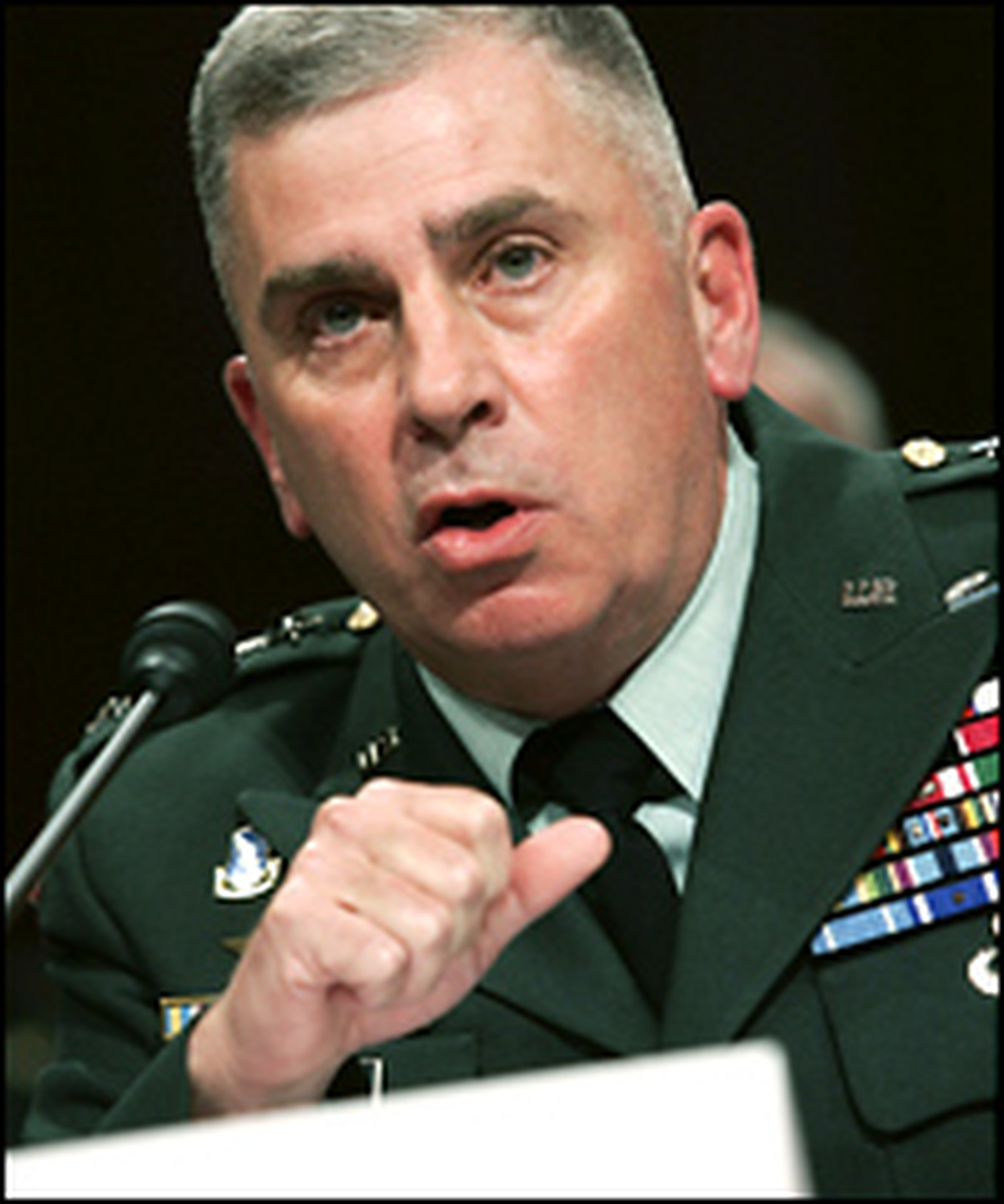 Commander of U.S. Central Command Army Gen. John Abizaid testifies during a hearing before the Senate Armed Services Committee.