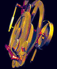 A computerized reconstruction of the device's gears. The wheels at lower left correspond to the Moon