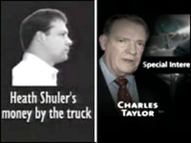 Still images from campaign ads from the Taylor and Shuler campaigins.