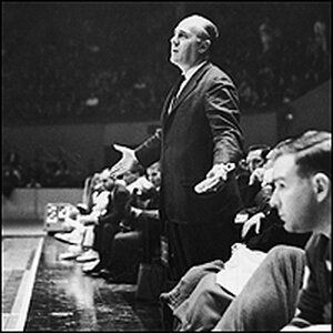 Auerbach patrols the sidelines at Boston Garden during a 1965 game.