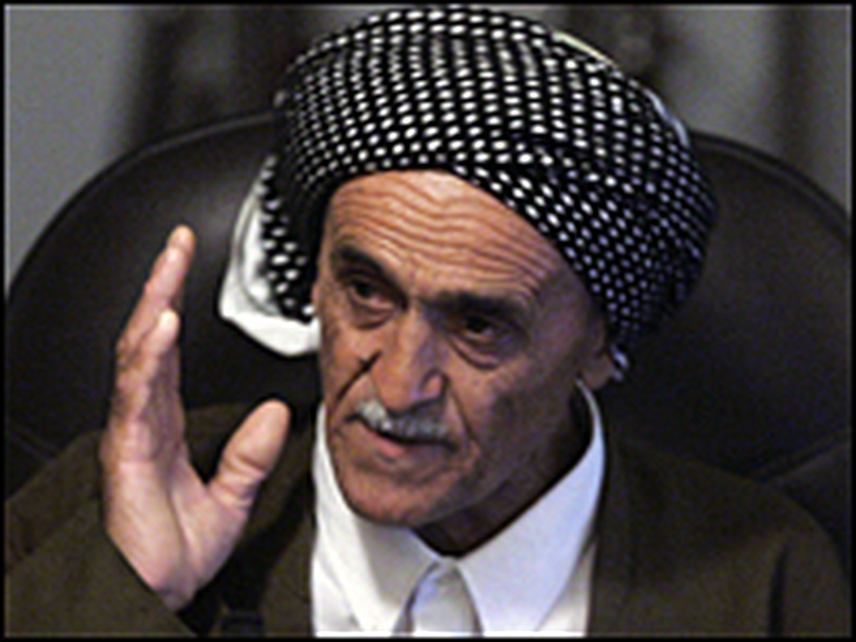 Abdullah Mohammed Hussein testifies against former Iraqi President Saddam Hussein during his trial on genocide charges in Baghdad, Sept. 14, 2006.