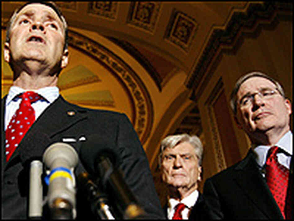 Senate Majority Leader Bill Frist (R-TN), Sen. John Warner (R-VA) and Stephen Hadley