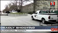 A cell phone video aired on CNN captures the sounds of the shootings on the Virginia Tech campus.