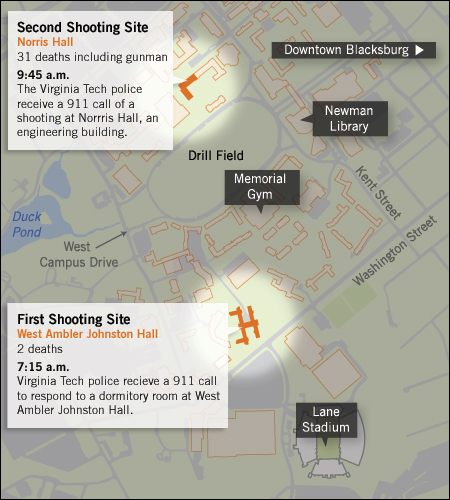 Timeline: How The Virginia Tech Shootings Unfolded : NPR