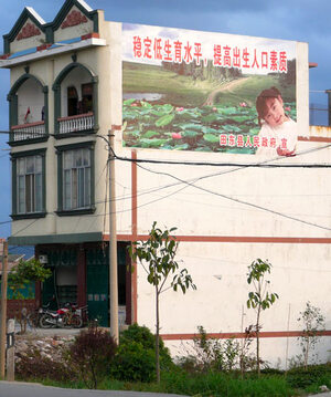 "A slogan on a village building outside Baise in southwest China, reads, ""Keep the birth rate low to enhance the quality of the population."""