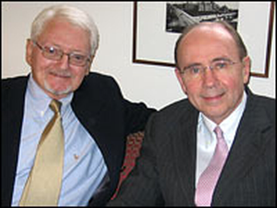Robert Hastings (left) and Dr. Patrick Walsh celebrate the 25th anniversary of Hastings' surgery.