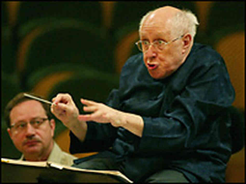 Mstislav Rostropovich during a rehearsal for a concert. Credit: CESAR RANGEL/AFP/Getty Images.