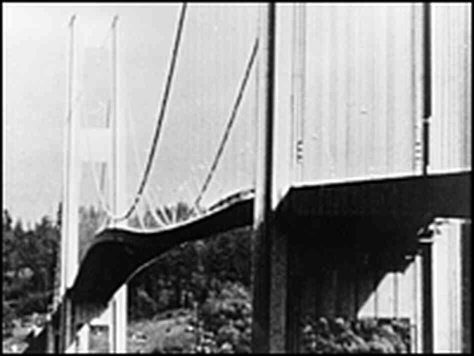 Tacoma Narrows suspension bridge in Puget Sound, Washington state, vibrates violently.