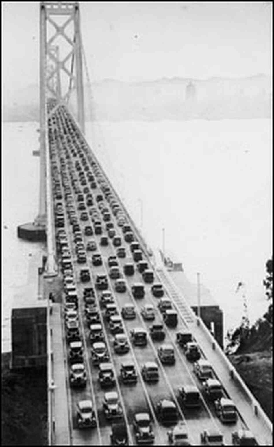 Cars cross the San Francisco-Oakland Bay Bridge shortly after it opened in 1936.