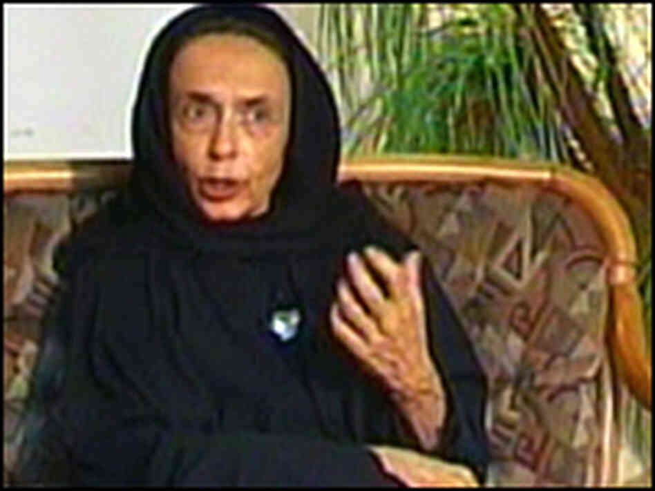 "Haleh Esfandiari in a program titled ""In the Name of Democracy."""