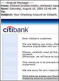 A phishing e-mail pretending to be from Citibank.