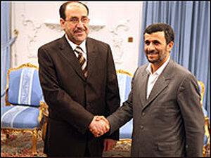 Iranian President Mahmoud Ahmadinejad with Iraqi Prime Minister Nouri al-Maliki.