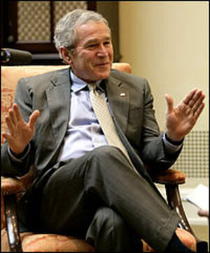 President Bush, photographed during a Jan. 24 visit to the DuPont Experimental Station in Delaware.