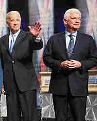 Sen. Joe Biden and Sen. Chris Dodd greet the audience.
