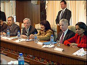 Condoleezza Rice and U.S. Ambassador  to Iraq Ryan Crocker meet with leaders in Kirkuk, Iraq.