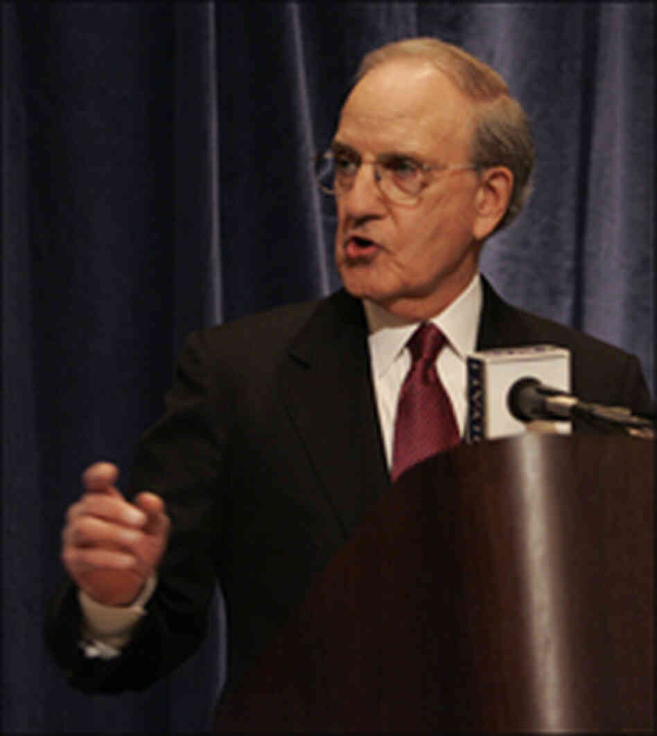George Mitchell announces the results of his investigation into the use of steroids in baseball.