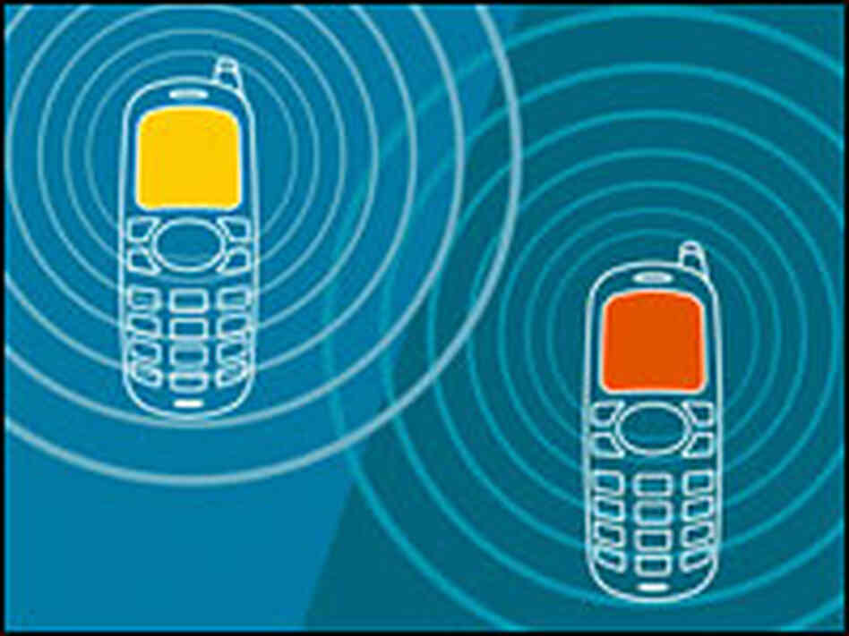 An artist's concept of cell phone communication