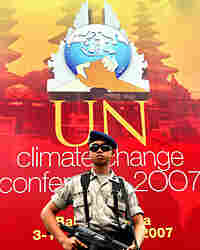 An Indonesian policeman stands guard near the U.N. Climate Change Conference 2007 in Bali.
