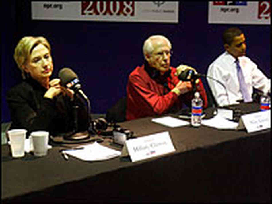 Sen. Hillary Clinton, former Sen. Mike Gravel and Sen. Barack Obama