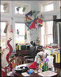 Students' crafts adorn educator Sally Smith's office at the Lab School.