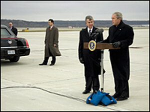 President Bush, at Eppley Airfeild in Omaha, Neb., with former Agricultural Secretary Mike Johanns