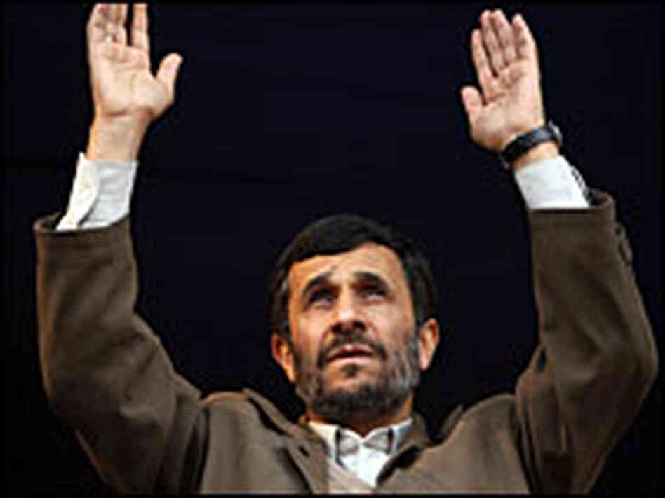 Iranian President Mahmoud Ahmadinejad speaks at a rally in Iran on Tuesday.