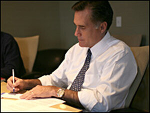 "Mitt Romney makes edits to his speech ""Faith in America"" on Monday."