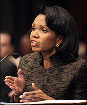 Secretary of State Condoleezza Rice answers questions from Sen. Chuck Hagel Thursday.