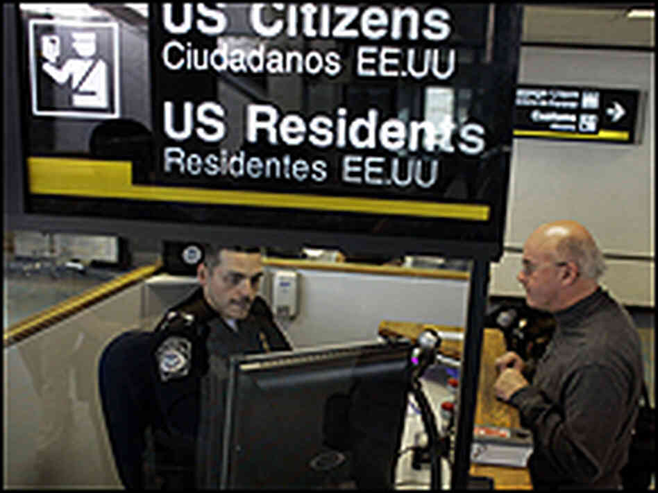 Anthony Ramos, a Customs and Border Protection officer, checks Martin Keenan in Miami.